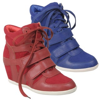 Journee Collection Women's 'Alana-1' Lace-up Wedge High-top Sneakers