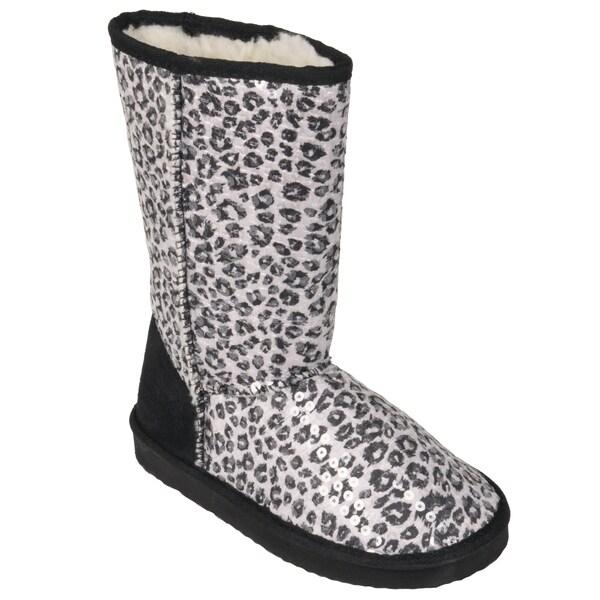 Journee Kids Girl's 'K-ugena-leo' Faux Suede Mid-calf Leopard Print Boots