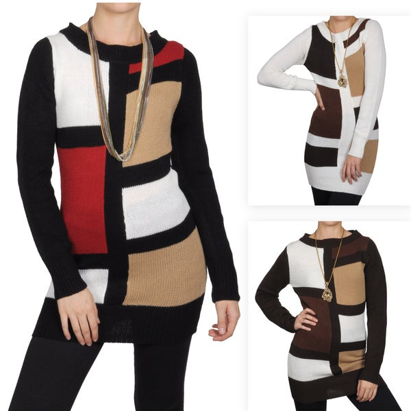 Journee Collection Juniors Color Block Scoop Neck Tunic Sweater