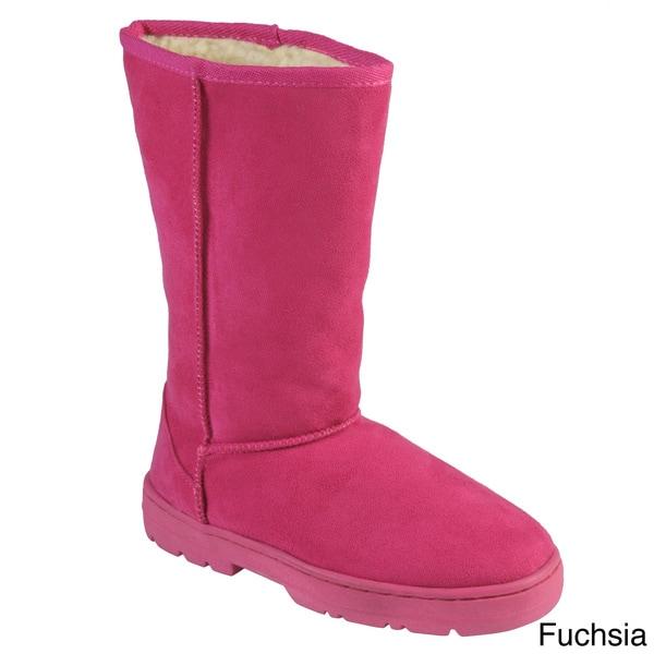 Adi Designs Women's Faux Suede Lug Sole Boots