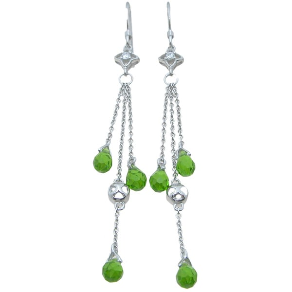 Plutus Sterling Silver Green and Clear Cubic Zirconia Dangle Earrings