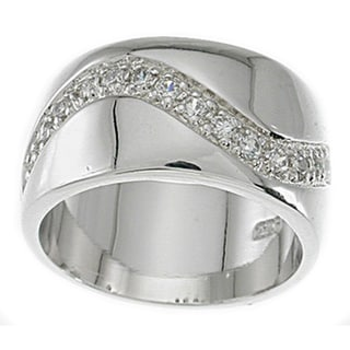 Sterling Silver Cubic Zirconia Pave Fashion Band