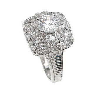 Plutus Sterling Silver 1 carat Round Cubic Zirconia Engagement Ring