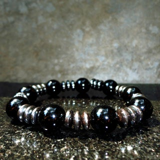 Pavcus Designs Black Onyx and Hematite Gemstone Stretch Bracelet