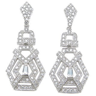 Plutus Sterling Silver Cubic Zirconia Antique-style Dangle Earrings