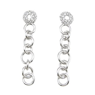 Plutus Sterling Silver Cubic Zirconia Ring Link Earrings