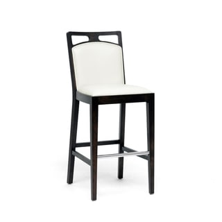 Pontus Brown Wood and Cream Leather Modern Bar Stool