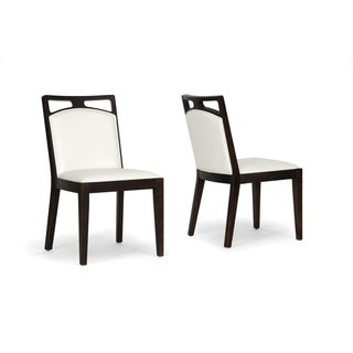 Pontus Brown Wood and Cream Leather Modern Dining Chair (Set of 2)