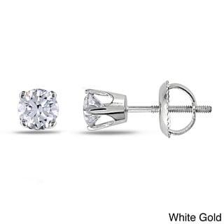 Miadora 14k Gold 3/4ct TDW Diamond Solitaire Stud Earrings (I-J, I2-I3)