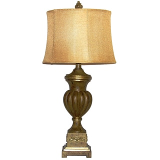Faux Walnut Finish Traditional Table Lamp
