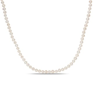 Miadora Freshwater White Pearl Endless Necklace
