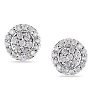 Miadora Sterling Silver 1/2ct TDW Diamond Stud Earrings (H-I, I2-I3)
