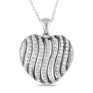 Miadora Sterling Silver 1ct TDW Diamond Heart Necklace (I-J, I2-I3)