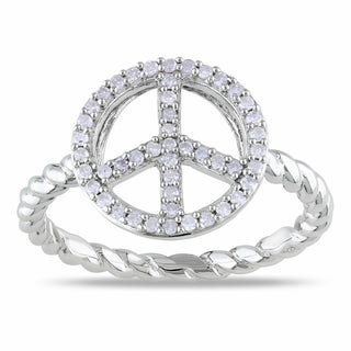 Miadora Sterling Silver 1/5ct TDW Diamond Peace Sign Ring