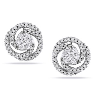 Miadora 14k White Gold 1/2ct TDW Diamond Swirl Stud Earrings (G-H, SI1-SI2)