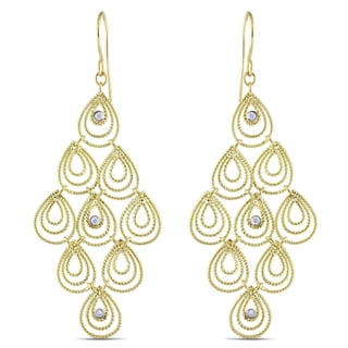 Miadora 14k Yellow Gold 1/8ct TDW Diamond Dangle Earrings (G-H, SI1-SI2)