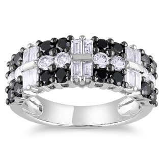 Miadora 14k White Gold 1 7/8ct TDW Black and White Diamond Ring (G-H, I1-I2)