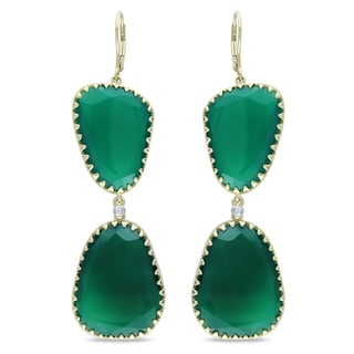 Miadora 14k Yellow Gold Green Onyx and Diamond Earrings (G-H, SI1-SI2)
