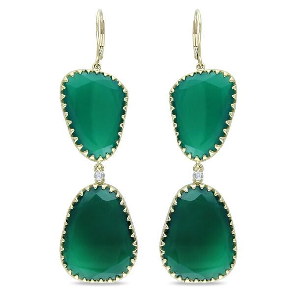 Miadora 14k Yellow Gold Green Onyx and Diamond Earrings (G-H, SI1-SI2)