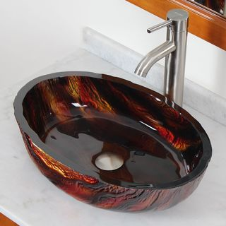 Elite Modern Oval Hot Melt Tempered-glass Bathroom Sink with Brushed Nickel Faucet Combo