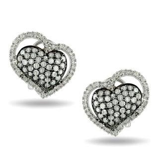 Haylee Jewels Sterling Silver 1ct TDW Diamond Heart Earrings (I-J, I2-I3)