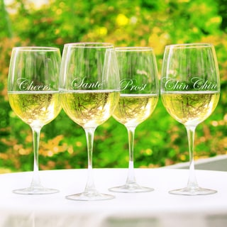 Cheers! White Wine Glasses (Set of 4)