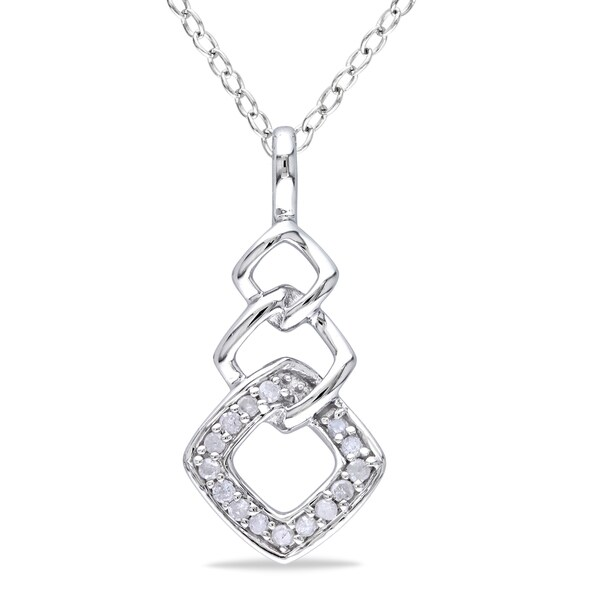 Haylee Jewels Sterling Silver 1/10ct TDW Diamond Necklace (H-I, I2-I3)
