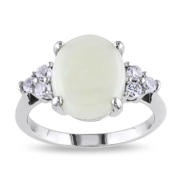 Miadora Sterling Silver Opal and Created White Sapphire Cocktail Ring