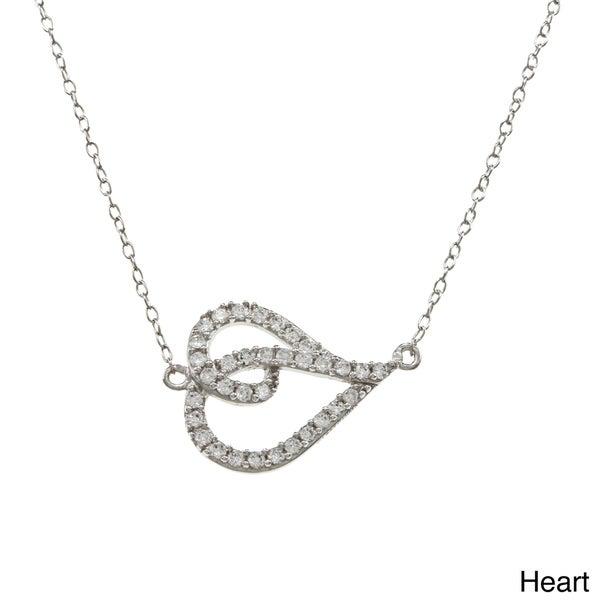 La Preciosa Sterling Silver CZ Sideways Shape 16-inch Necklace