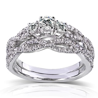 14k White Gold 1/2ct TDW Diamond Braided Bridal Rings Set (H-I, I1-I2)