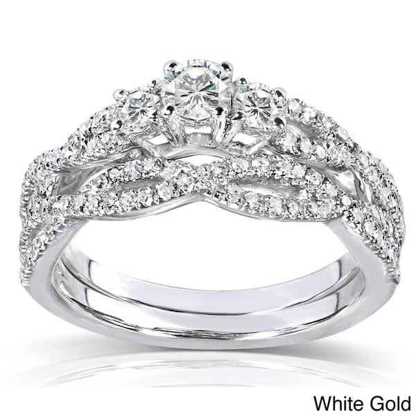 Annello 14k Gold 1/2ct TDW Diamond Braided Bridal Ring Set (H-I, I1-I2)