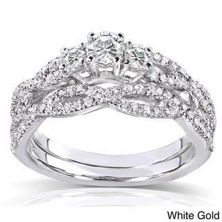 Annello  14k Gold 1/2ct TDW Diamond Braided Bridal Rings Set (H-I, I1-I2)