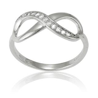 La Preciosa Sterling Silver White Topaz Infinity Ring