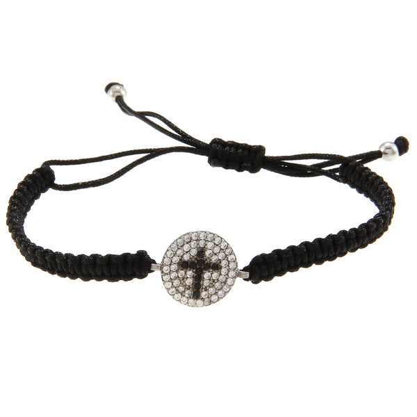 La Preciosa Silver Black and White CZ Cross Disc Macrame Bracelet