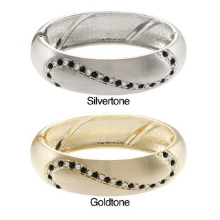 La Preciosa Goldtone/ Silvertone Black and White Crystal Hinged Bangle