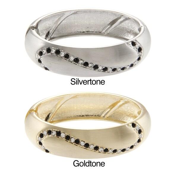 La Preciosa Goldtone/ Silvertone Black and White Crystal Hinged Bangle