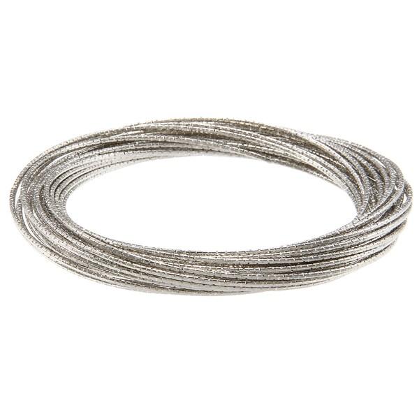 La Preciosa Silvertone Diamond-cut Thin Multi-strand Bangle Bracelet
