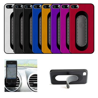 Apple iPhone 5 Aluminum Gravitate Clip Stand Case and Screen Protector Set (2 Front Anti-fingerprint and 1 Back Clear)