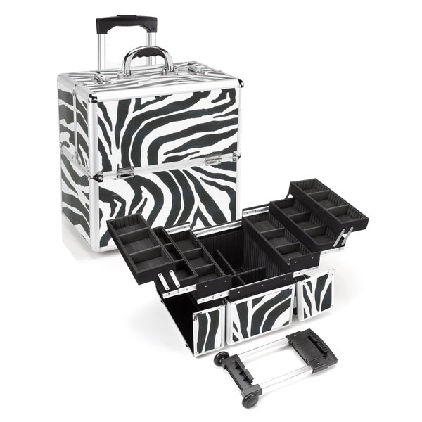 Seya Zebra Rolling Makeup Case with Detachable Trolley