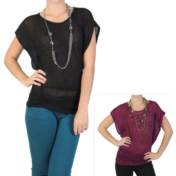 Journee Collection Junior's Contemporary Plus Butterfly Sleeve Top