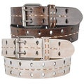 Journee Collection Women's Vintage Stitching Detail Leather Belt