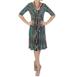 Sangria Women's Half-sleeve Tie-front Dress