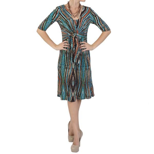 Sangria Women's Half-sleeve Tie-front Dress