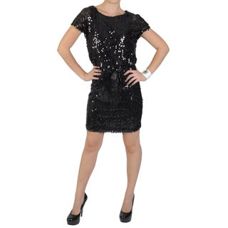 Sangria Women's Blouson Waist Scoop Neck Sequined Dress
