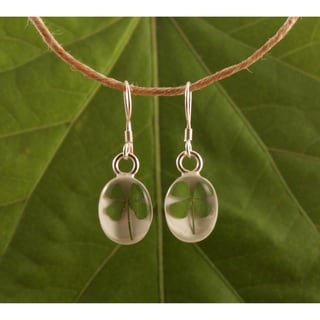 Sterling Silver Four Leaf Clover Earrings (Mexico)