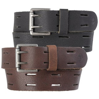 Timberland Men's Distressed Cutout Genuine Leather Belt