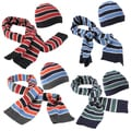 Boston Traveler Men's Striped Knit Beanie Hat and Scarf Set