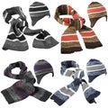 Boston Traveler Men's Striped Knit Hat and Scarf Set