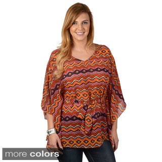 Tressa Designs Women's Contemporary Plus Tie Waist Poncho Tunic
