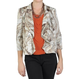 Perceptions Women's Lined Open Front Cropped Jacket
